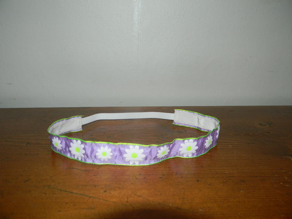 Purple & White Flowers NO SLIP Headband