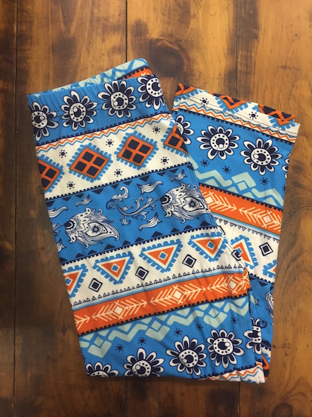 Blue, Orange Pattern Capri Leggings {one size}