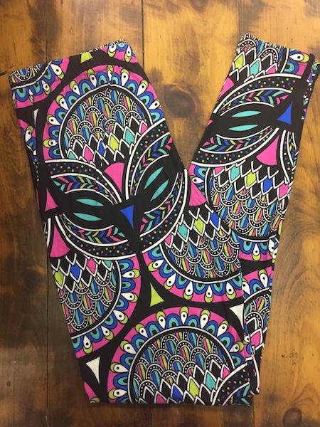 Jewel Tone Feather Leggings {plus size}