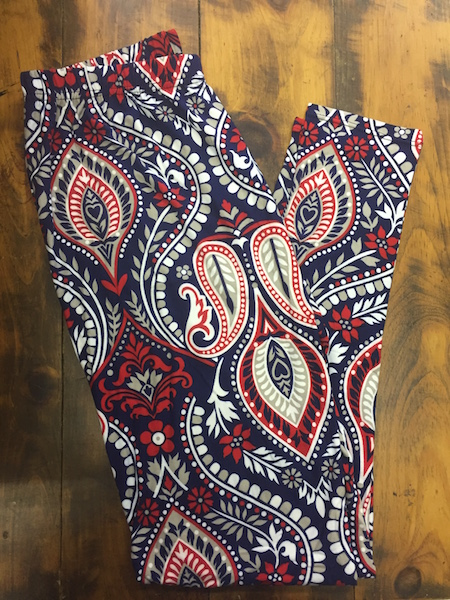 Navy and Red Paisley Leggings {plus size}