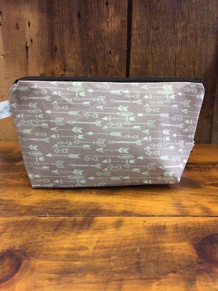 Makeup Bag {gray with sea foam arrows}