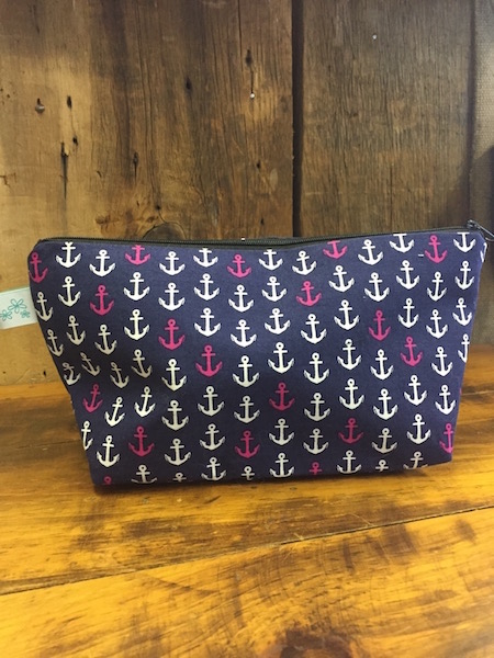 Navy with Anchors Makeup Bag