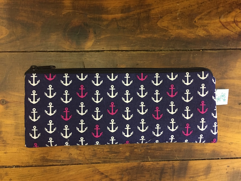 Navy with Anchors Pencil Case