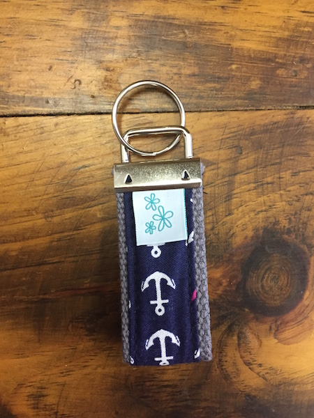 Navy with Anchors Mini Key Fob