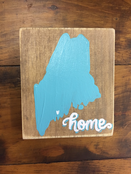Aqua Maine Home Sign