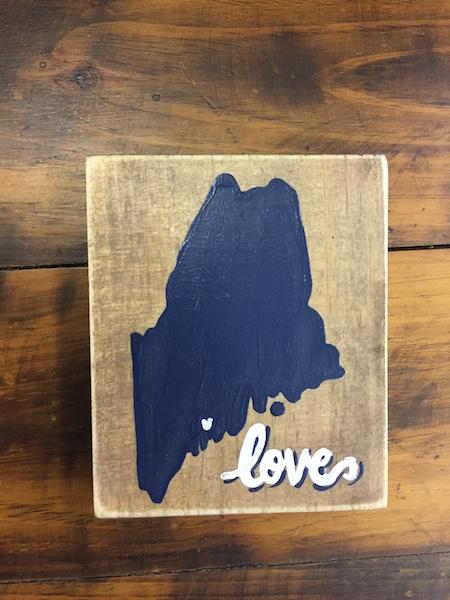 Navy Maine Love Sign