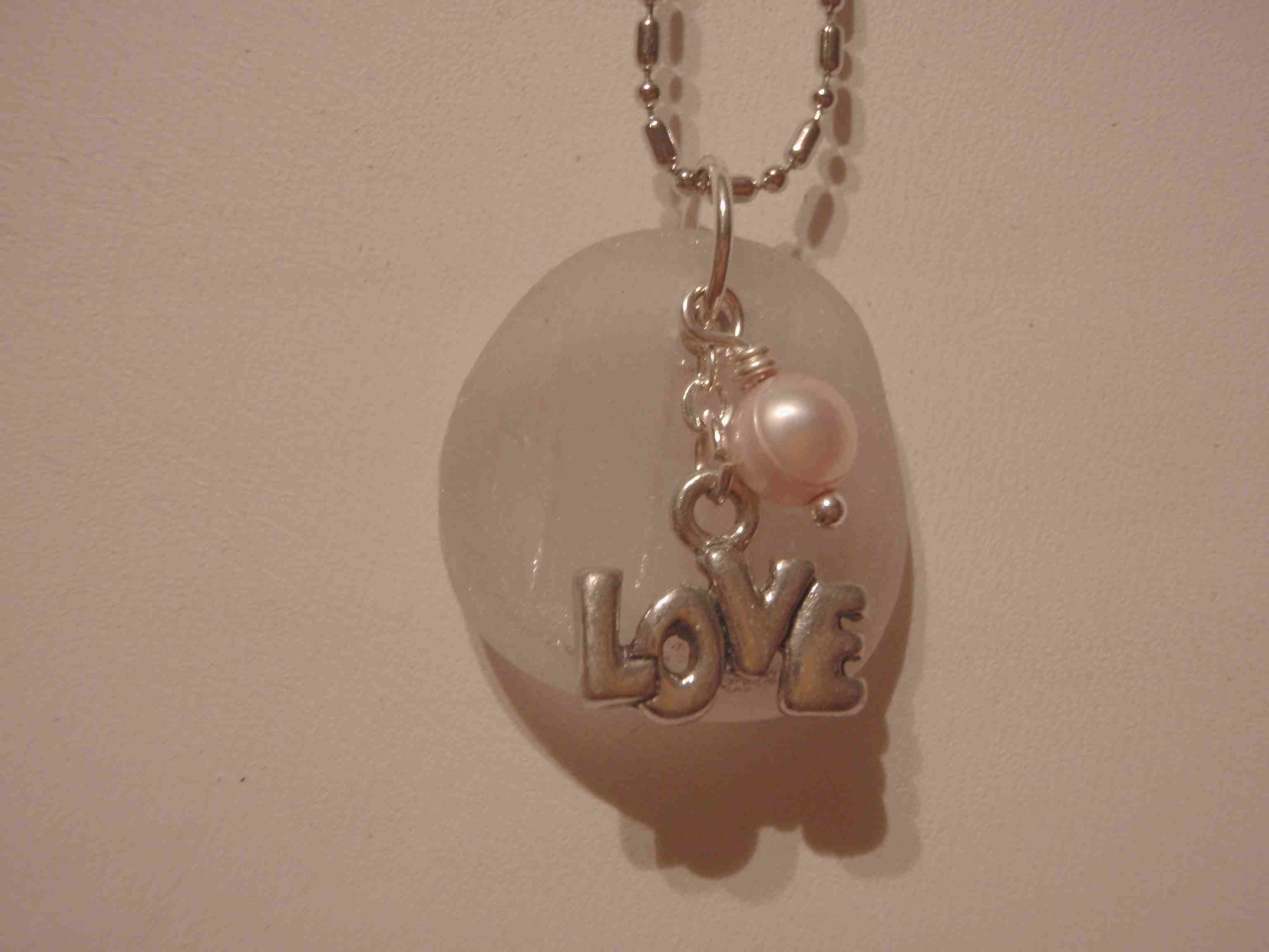 White Sea Glass with Pink Pearl & LOVE Charm