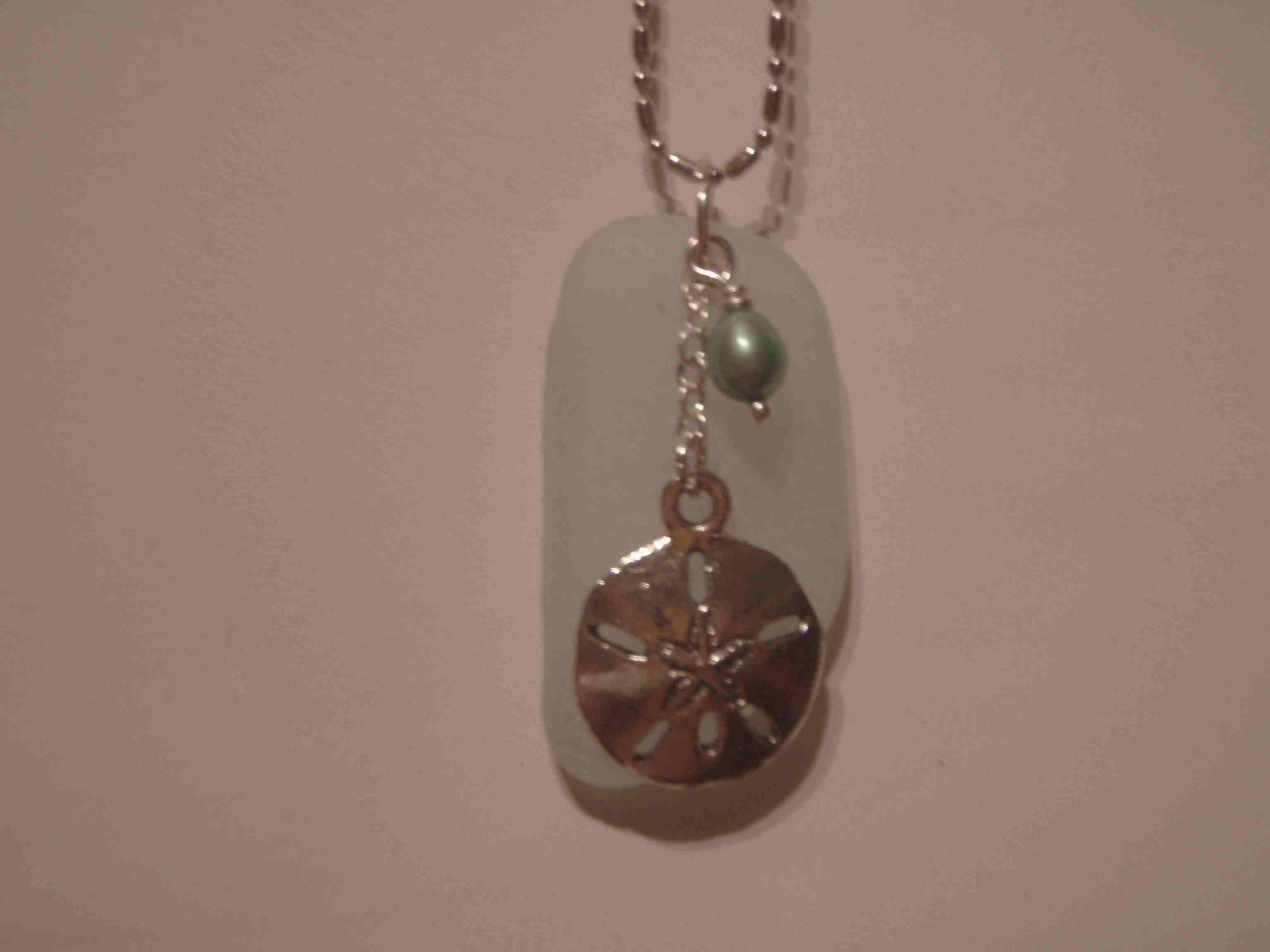 Aqua Sea Glass & Pearl with Sand Dollar Charm