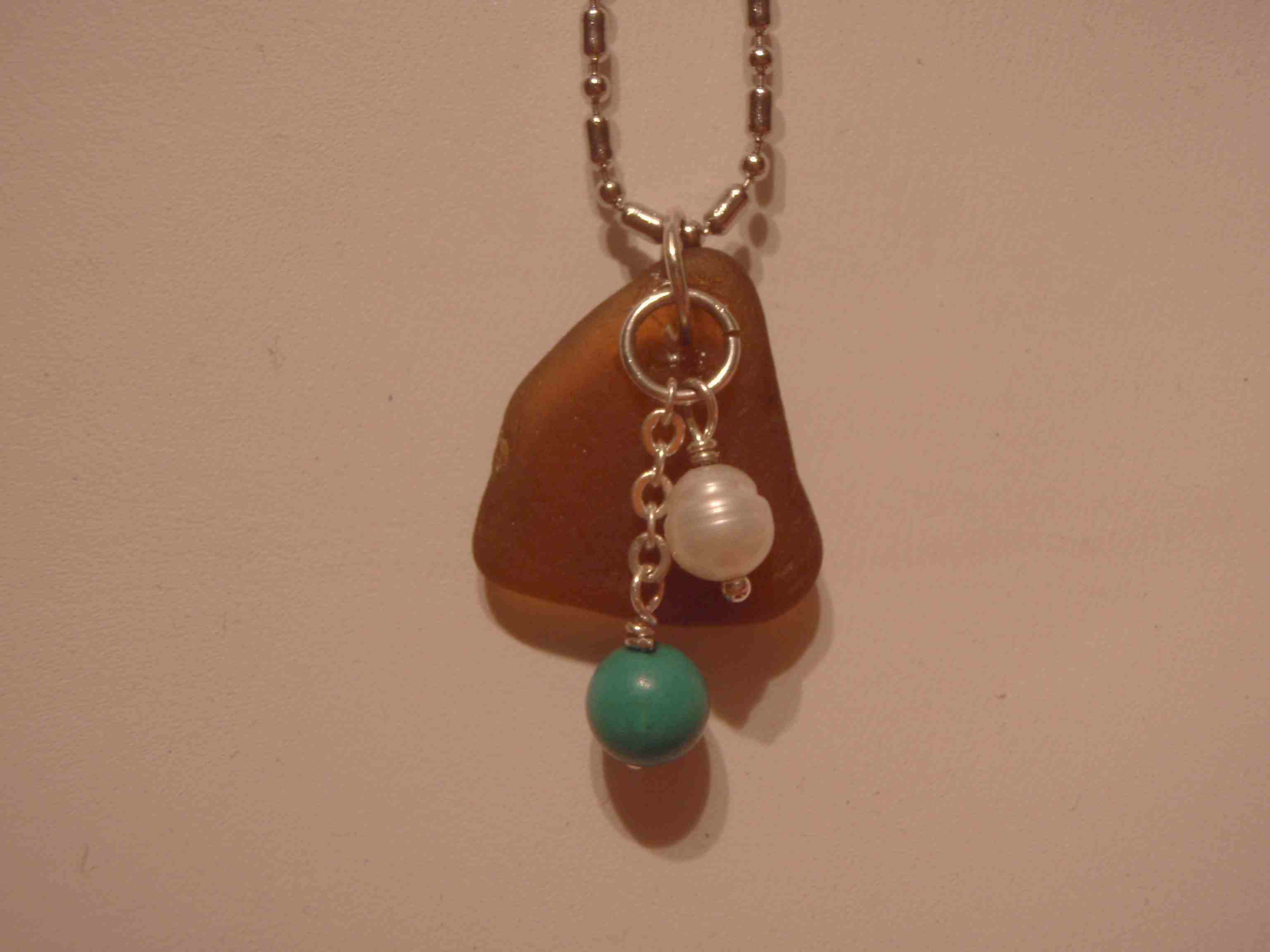 Rootbeer Brown Sea Glass with a Teal Bead & White Pearl