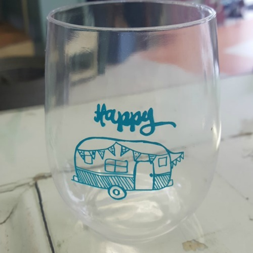 Happy Camper Plastic Stemless Wine Glasses