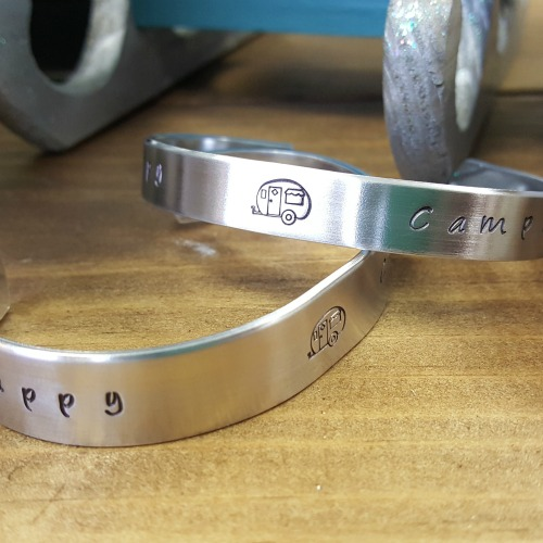Happy Camper Hand Stamped Bracelet