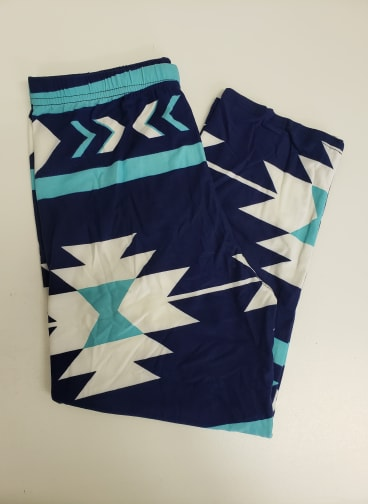 Navy & Aqua Aztec Capri One Size Leggings