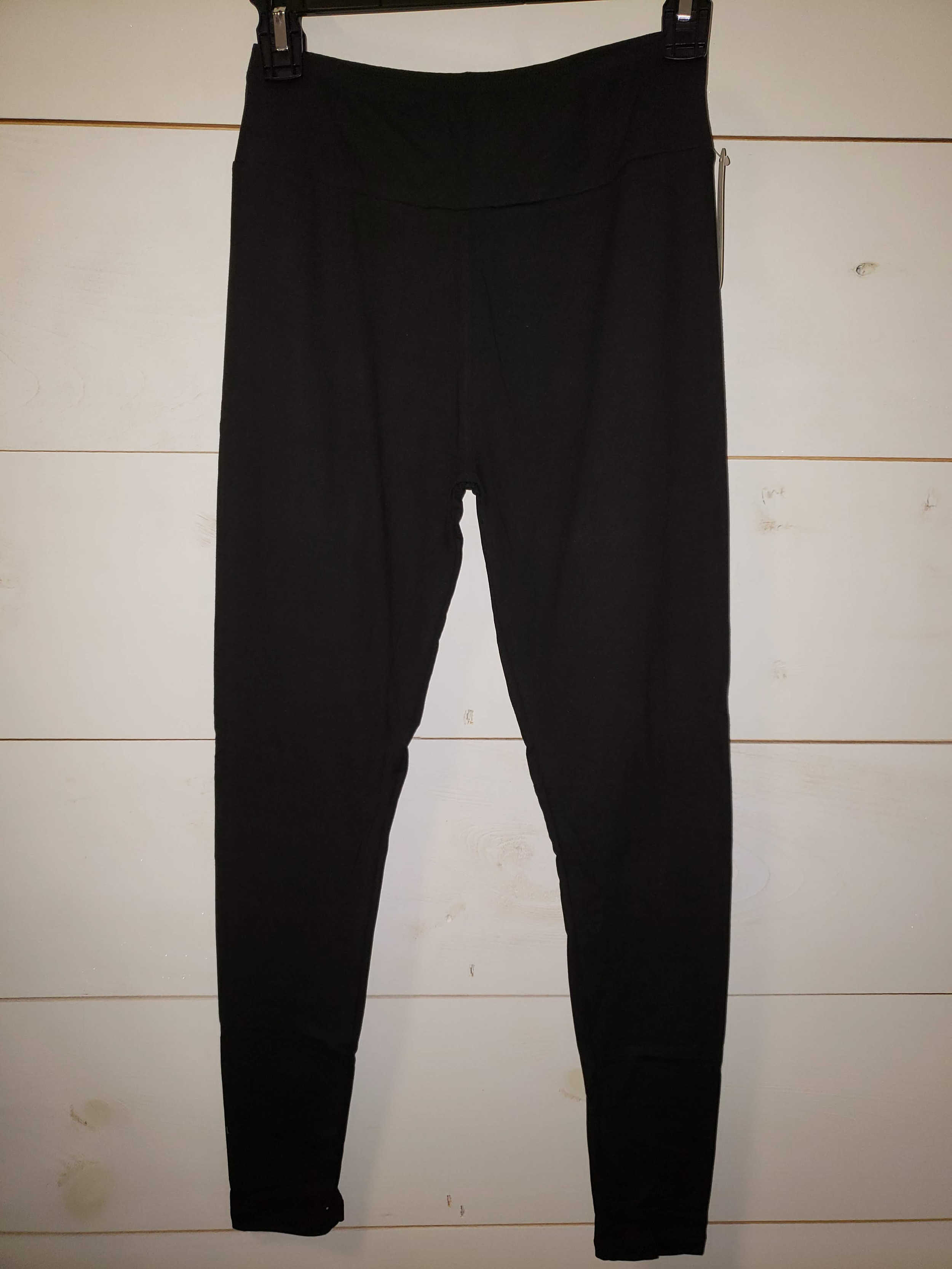 Solid Black Yoga Band Leggings